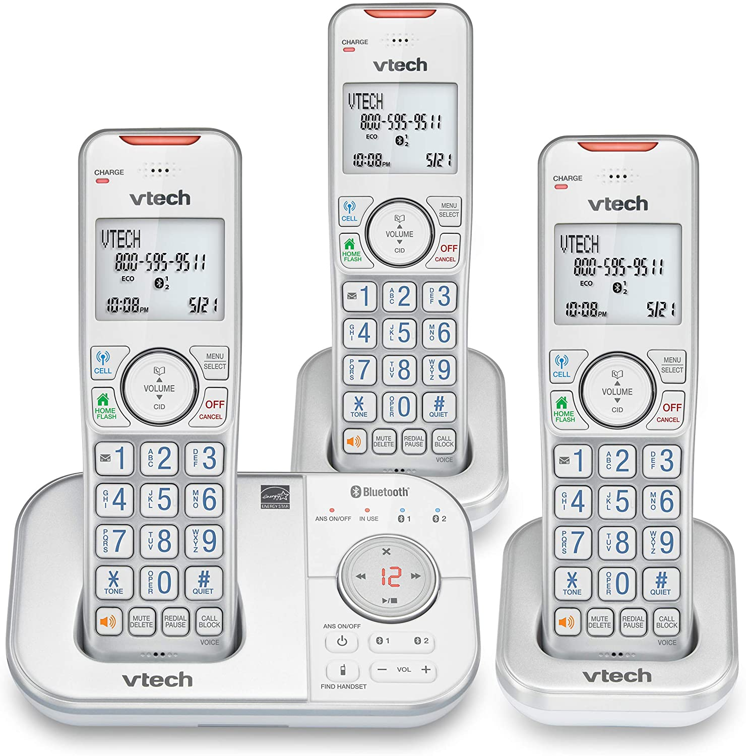 VTech VS112-37 DECT 6.0 Bluetooth 3 Handset Cordless Phone for Home with Answering Machine, Call Blocking, Caller ID, Intercom and Connect to Cell (Silver & White)