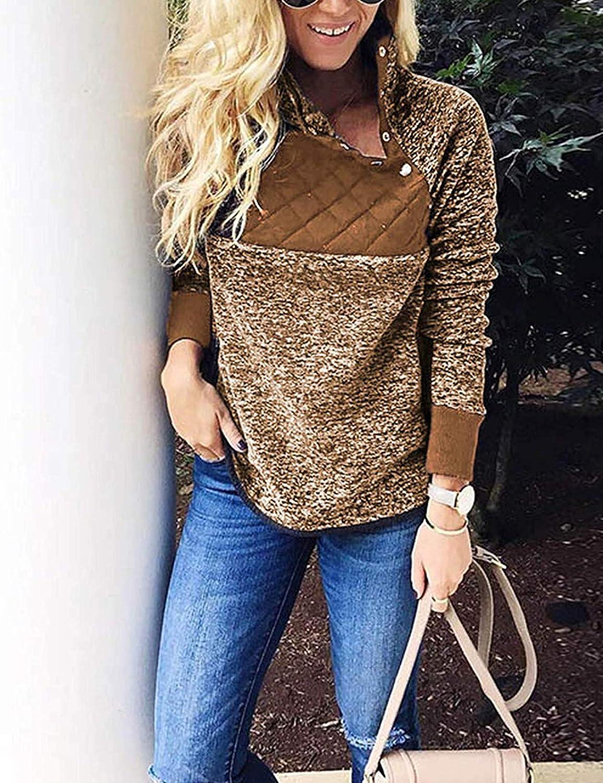 Romanstii Women Fleece Pullover Sweatshirt Oblique Button Neck Long Sleeve Warm Casual Coat Outwear S-XXL