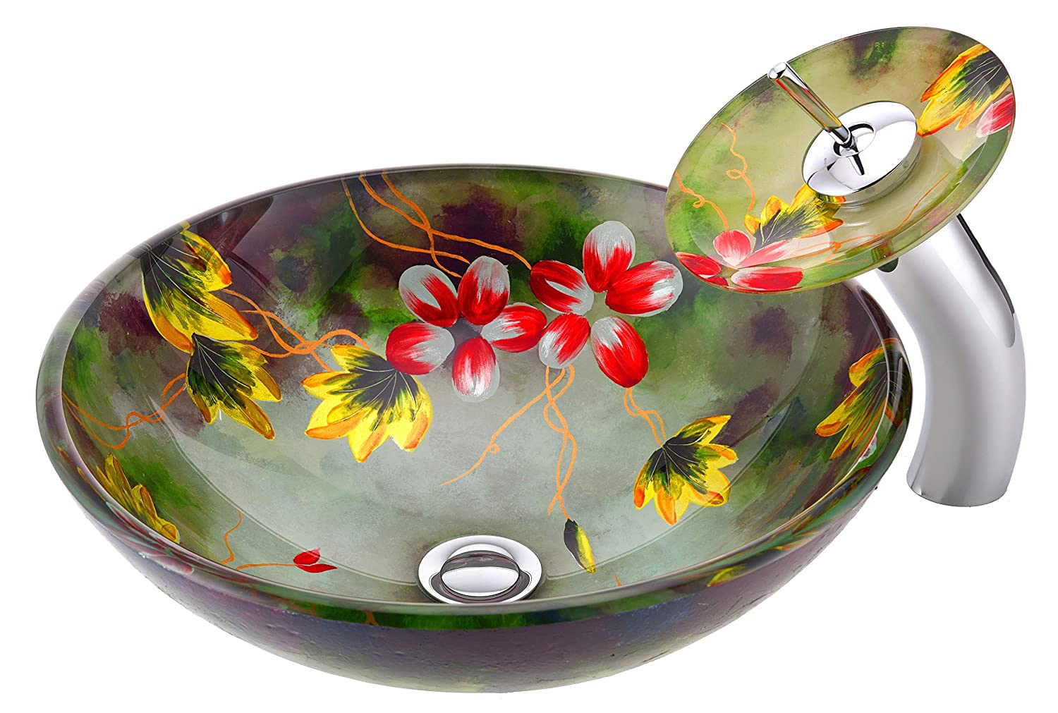 ANZZI Impasto Tempered Glass Vessel Sink and Faucet Combo in Floral Mural Finish Round Bowl Sink with Matching Waterfall Faucet Set Bathroom Sinks Above Counter and Vessel Faucet Combo LS-AZ217