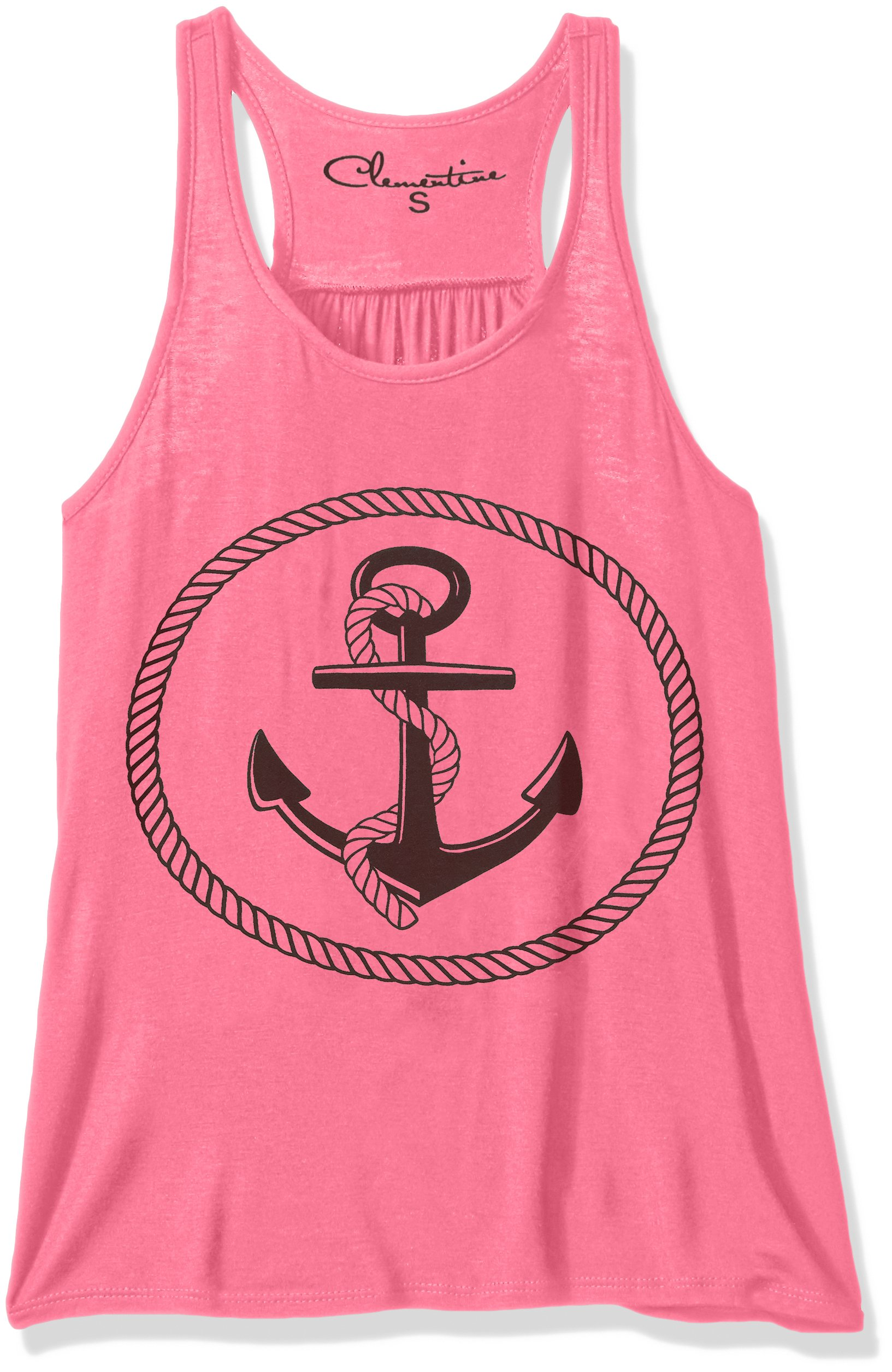 Clementine Apparel Women's Petite Plus Clementine Boat Anchor Printing Flowy Racerback Tank, Neon Pink, XS