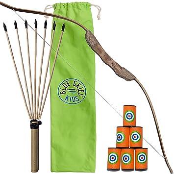 Amazon.com: Juego de arco y flecha de madera para niños con ...