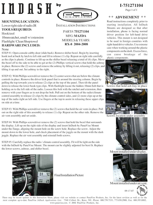 Padholdr Utility Series Premium Locking Tablet Dash Kit for 2004-2008 Mazda RX-8
