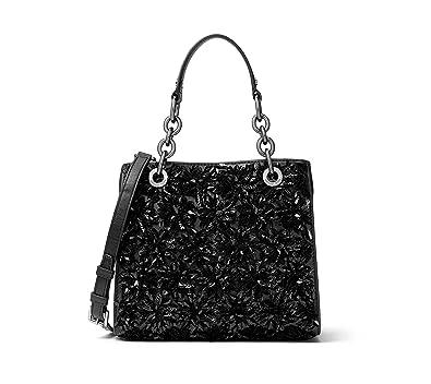 b7854aae155daf Amazon.com: MICHAEL Michael Kors Womens Flora Burst Leather Satchel Handbag  Black Small: Shoes