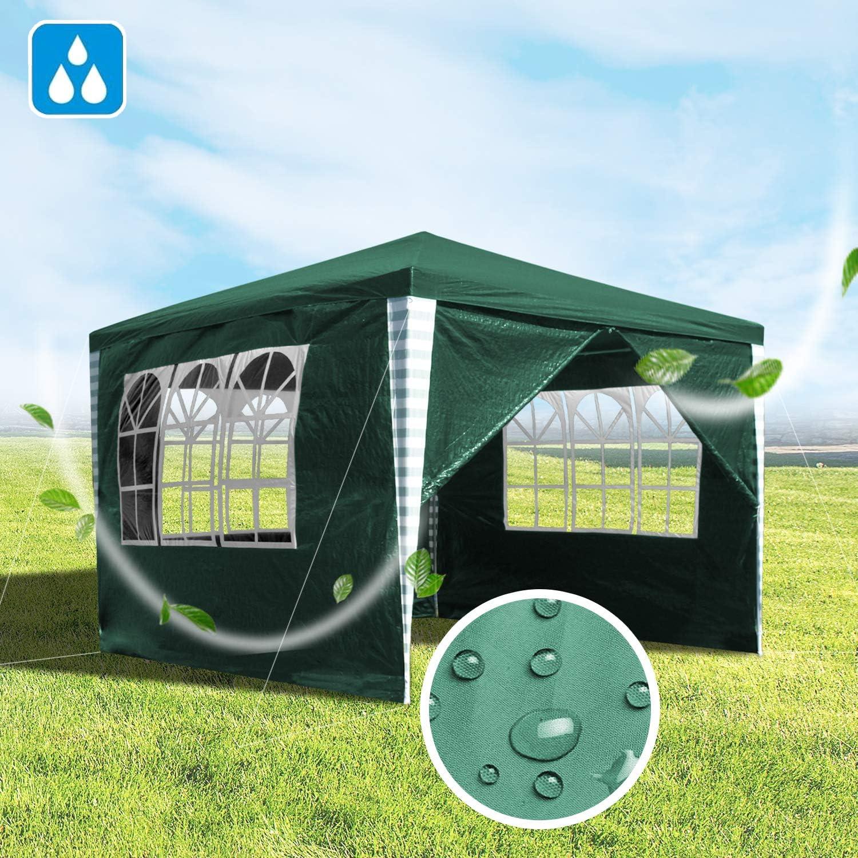 wolketon Carpas de Jardin 3x3m Verde Pabellones con 4 Partes Laterales Carpa de Fiesta Azul para Bodas y Festivales de Camping: Amazon.es: Jardín