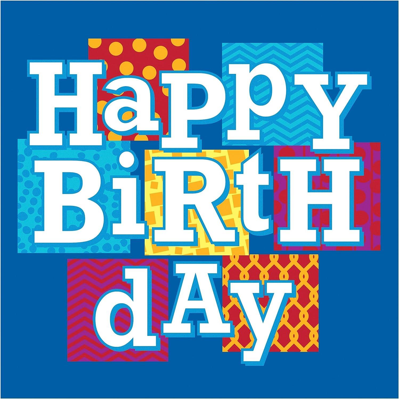 Creative Converting Celebrations 16 Count Happy Birthday Blocks Beverage Napkins, Blue/White/Red