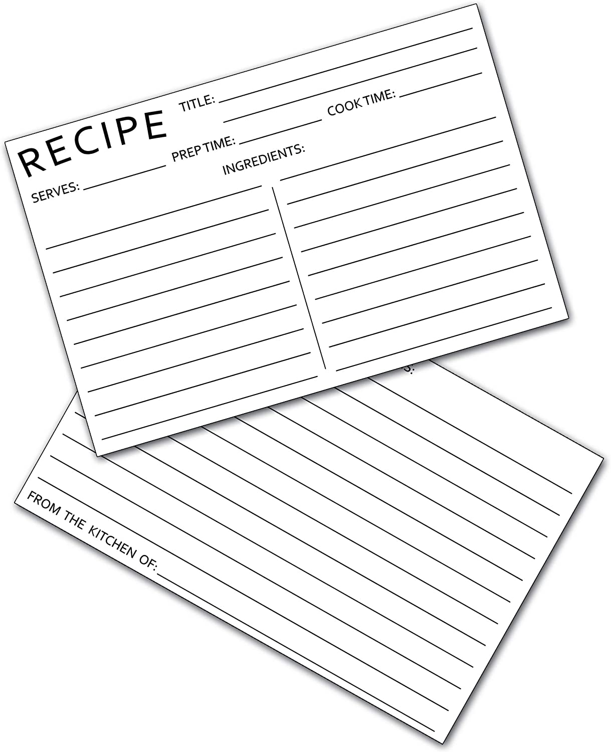 50 Recipe Cards - 4x6 Double Sided Premium Black and White Postcards