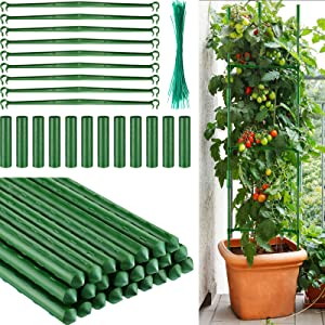 Garden Stakes Plant Support Plastic Coated Steel Plant Stake 16.5 Inch Plant Stakes with Straight Connecting Pipe, Rotatable Connection Tube, Metallic Twist Tie for Climb Plant (145 Pieces)