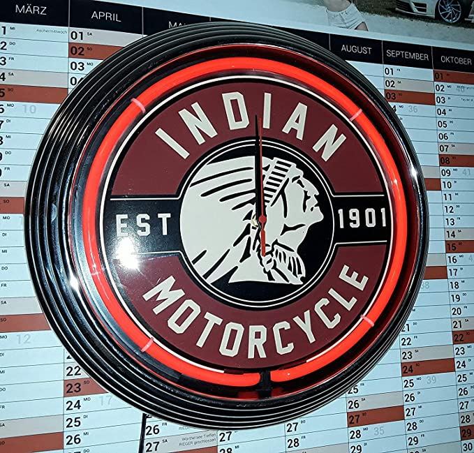 Reloj de pared para talles rojo neón indian motorcycle