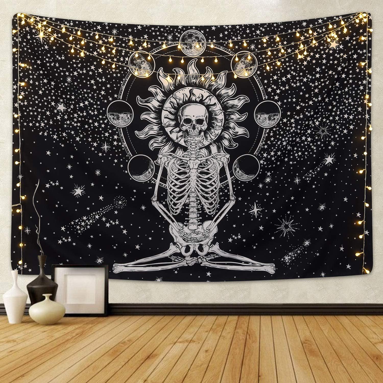 Skull Tapestry Meditation Skeleton Tapestry Chakra Tapestry Starry Tapestry Black and White Stars Tapestry for Room