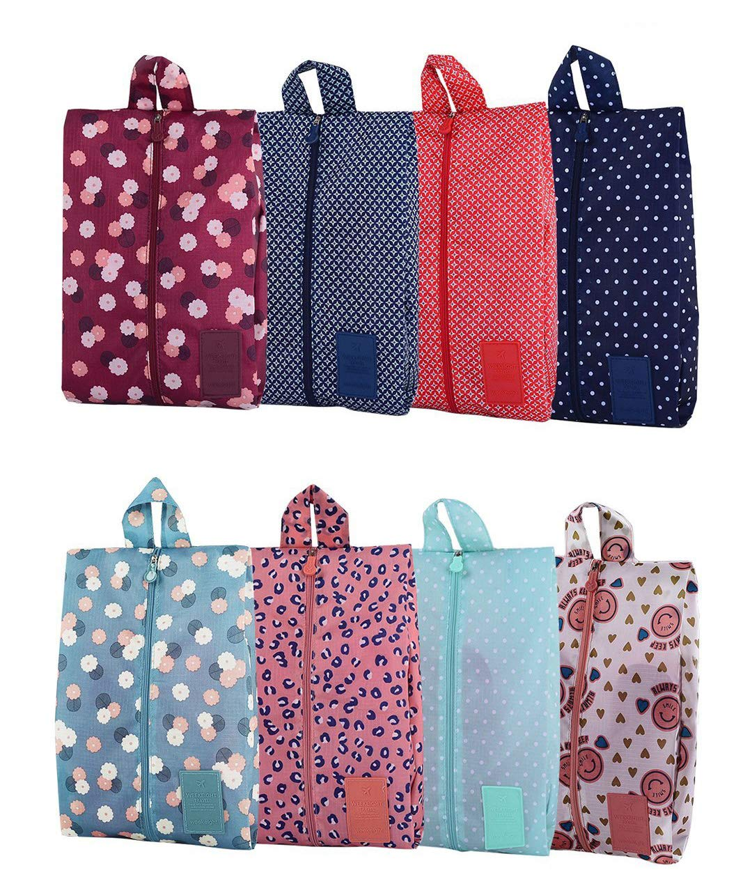 Travel Shoe Bags Portable Oxford Shoe Bags with Zipper Closure Waterproof Storage Organizer Bag for Makeup Bathing Clothes, 8 Pack by Xunlong