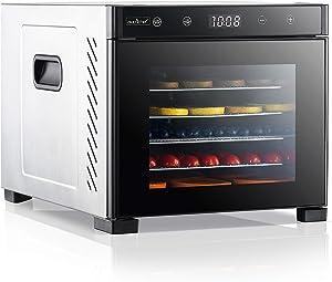 Electric Countertop Food Dehydrator Machine - 600-Watt Premium Multi-Tier Meat Beef Jerky Maker Fruit/Vegetable Dryer w/ 6 Stainless Steel Trays, Digital Timer, Temperature Control - NutriChef NCDH6S