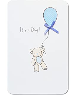 Amazon american greetings baby boy new baby congratulations american greetings bear with balloon new baby boy congratulations card with ribbon m4hsunfo