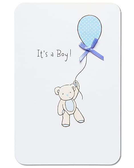 american greetings bear with balloon new baby boy congratulations card with ribbon