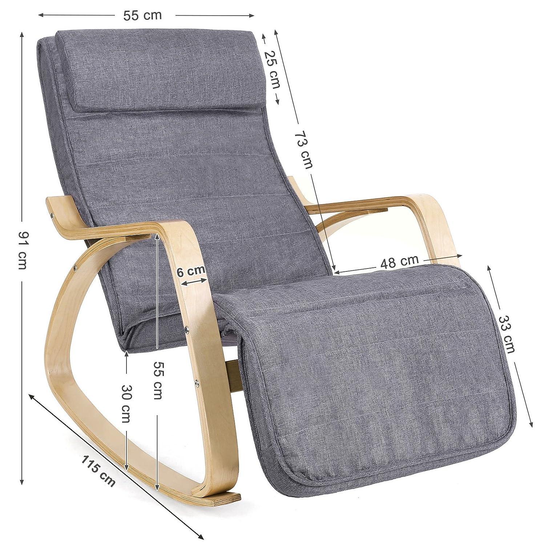 67 x 115 x 91 cm Holz SONGMICS Sessel Schaukelstuhl Schwingstuhl Relaxstuhl Leinenimitat grau LYY11G