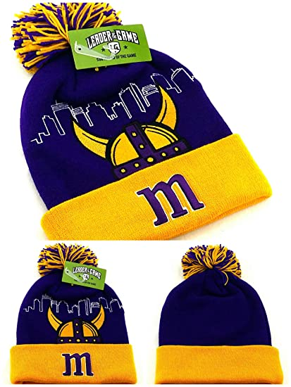 new styles 6d867 7f440 Amazon.com  Minnesota New Leader Knit Beanie Toque Horned Helmet Vikings Colors  Purple Gold Era Cuffed Pom Hat Cap  Sports   Outdoors