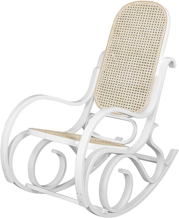 Due-Home - Mecedora sillón balancin, Acabado en Blanco Brillo Lacado, Medidas: 92,5 67 11,5 cm: Amazon.es: Hogar