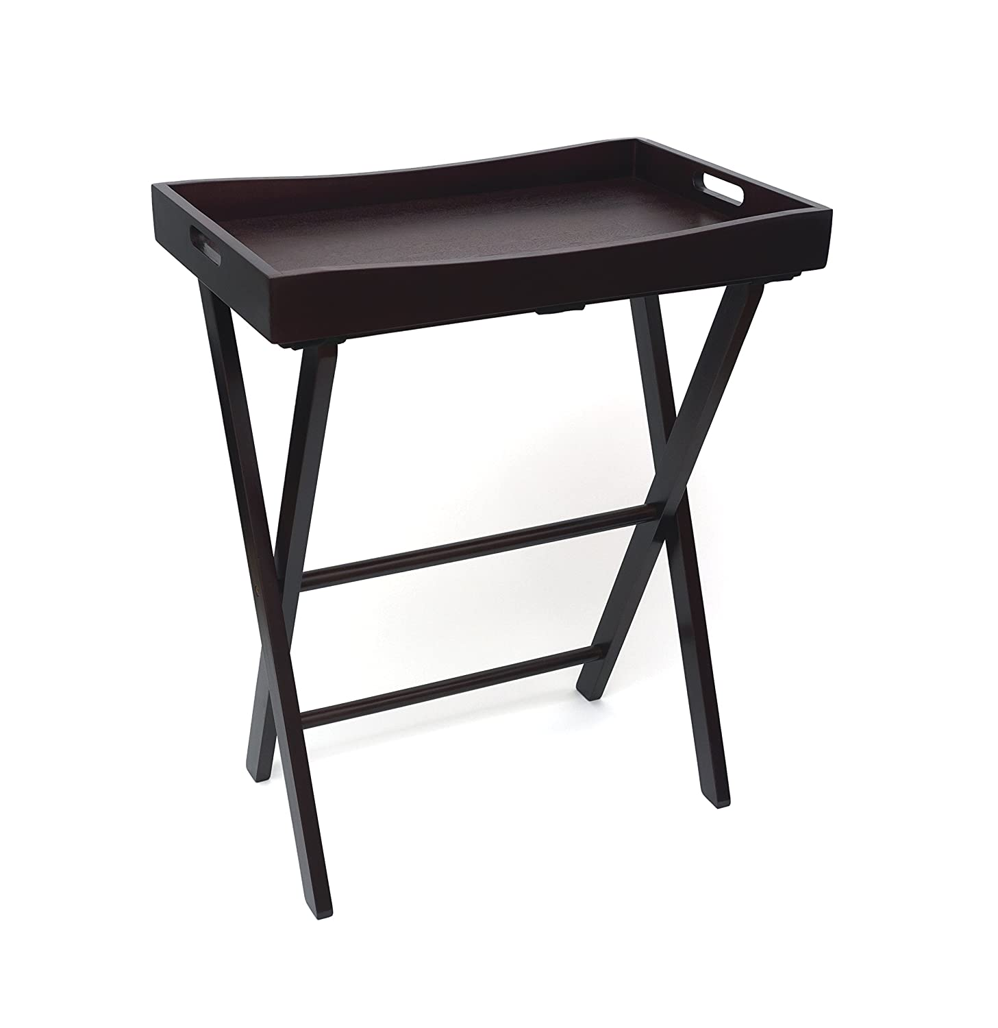 Lipper International 504E Right Height Folding Luggage Rack with Butler Tray, Espresso Finish