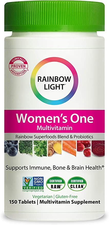 Amazon Com Rainbow Light Women S One Multivitamin For Women With Vitamin C Vitamin D Zinc For Immune Support Clinically Proven Absorption Of 7 Key Nutrients Non Gmo Vegetarian Gluten Free 150 Tablets