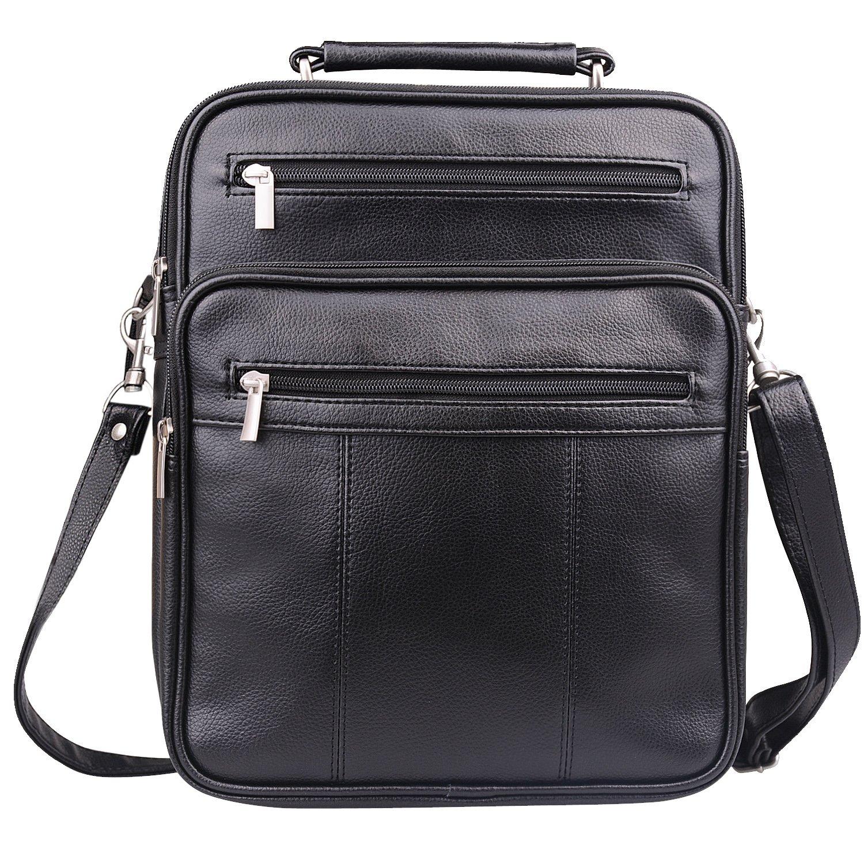Jack&Chris Mens PU Leather Crossbody Single-Shoulder Briefcase Messenger Handbag,MBYX020