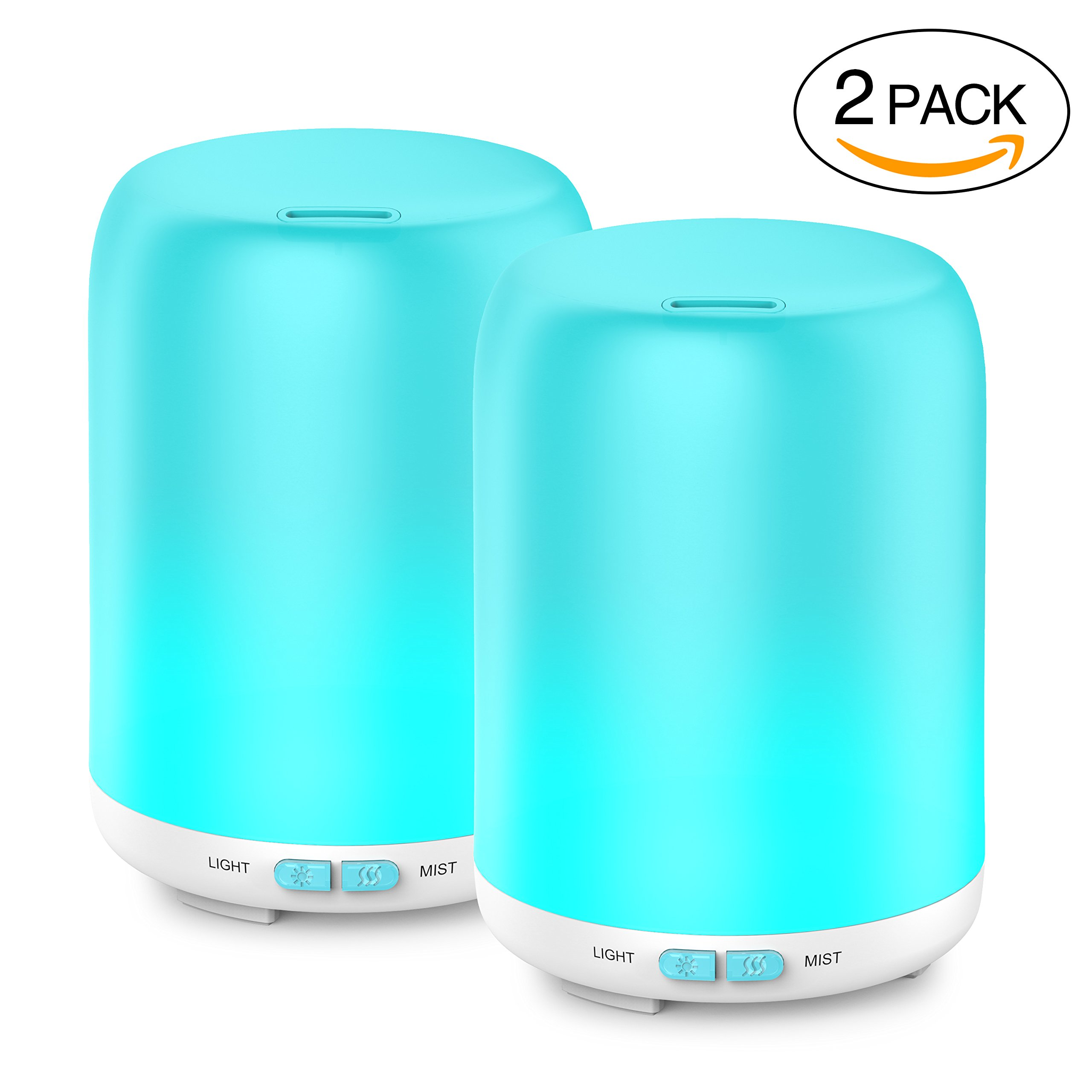 Essential Oil Diffuser, 2 Pack Aroma Diffuser Ultrasonic Cool Mist Aromatherapy with 7 LED lights, Waterless Auto Shut-off for Home Spa Baby Bedroom, 120ml