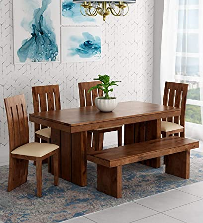 Krishna Wood Decor Sheesham Wooden Dining Table 6 Seater Dining Table Set With 4 Chairs With Cream Cushion Bench Home Dining Room Furniture Striped Pattern Brown Finish Amazon In Home Kitchen