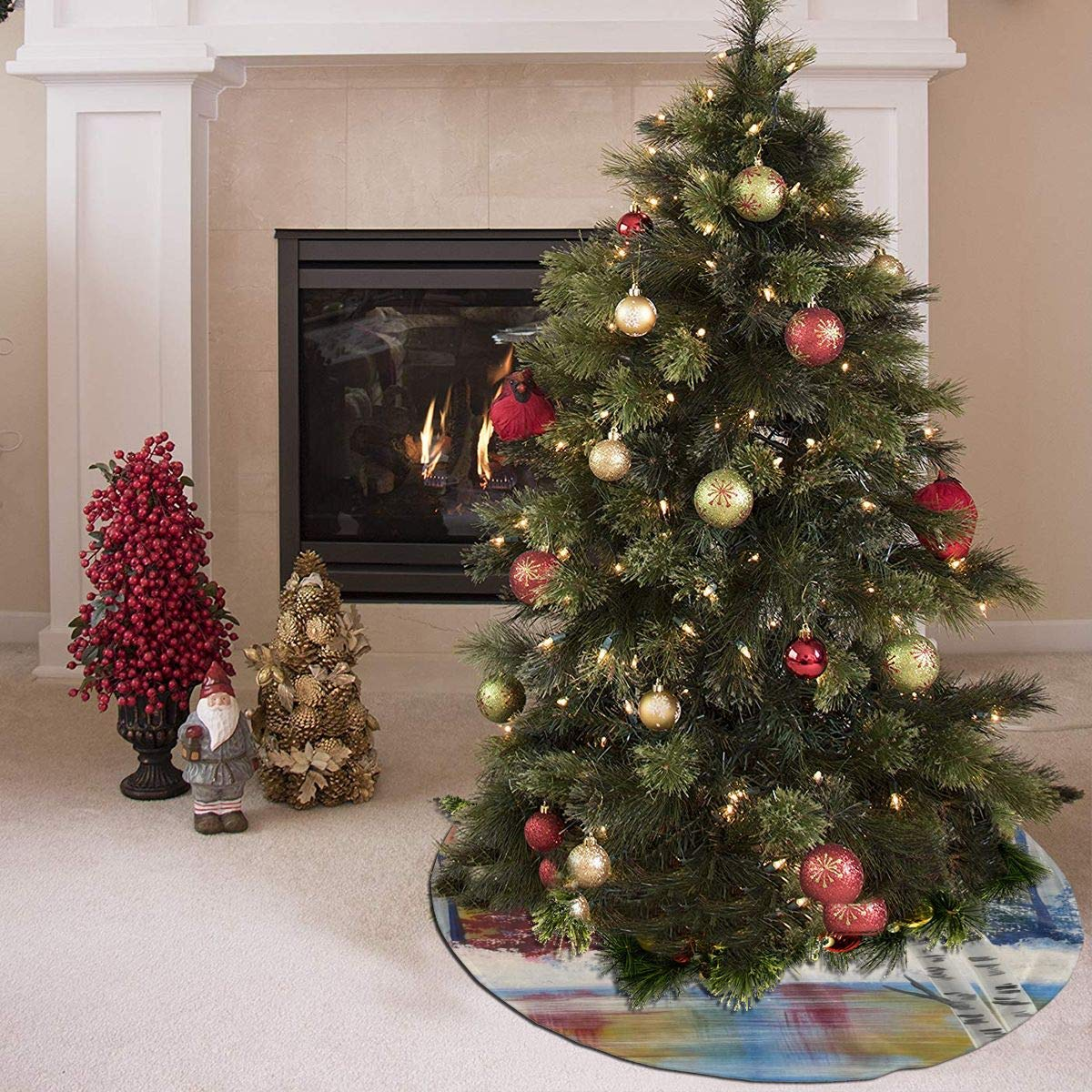 LUharbor Christmas Xmas Tree Skirt Treeskirt 35.5 Inch Tree Tree Skirt
