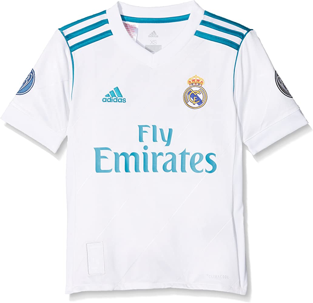 adidas H JSY UCL Youth Camiseta 1ª Equipación Real Madrid 2017-2018 LFP - Champions League, Niños, Blanco, 128: Amazon.es: Ropa y accesorios