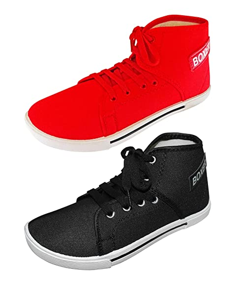 Pairs Red and Black Boxer Canvas Shoes