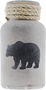 Frosted Brown Glass Black Bear Vase