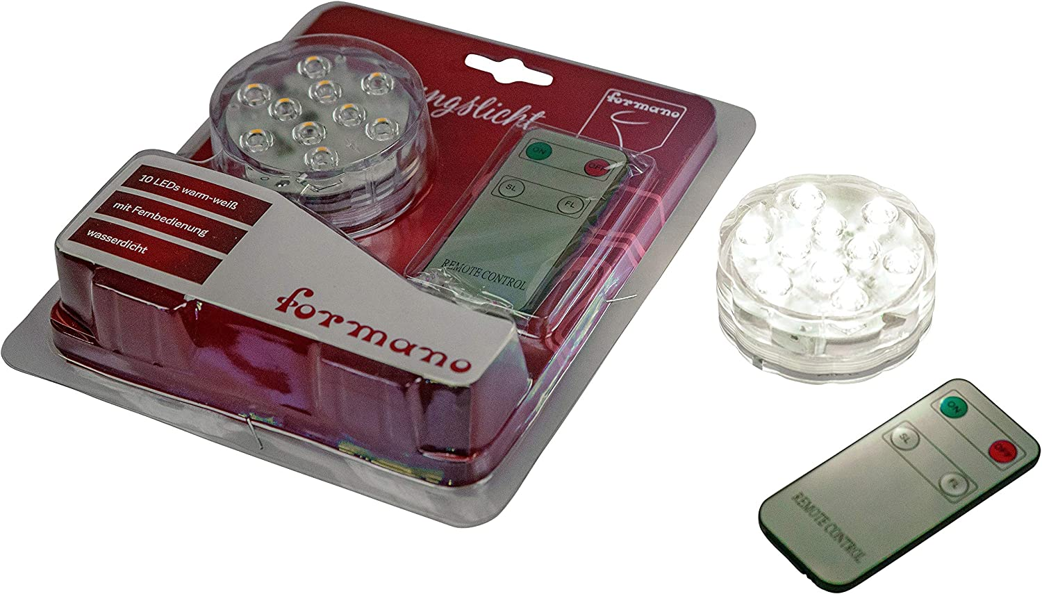 Aquarium or Pond Waterproof LED Lights Including Batteries and Remote Control Warm White ⌀ 7 cm for vases