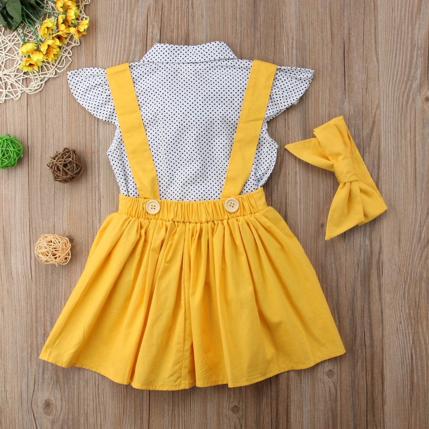 New Baby Outfit 3Pcs Kids Baby Girls 2019 Flying Polka Dot Bodysuit Suspender Skirt Overalls Yellow Set Cute Clothes