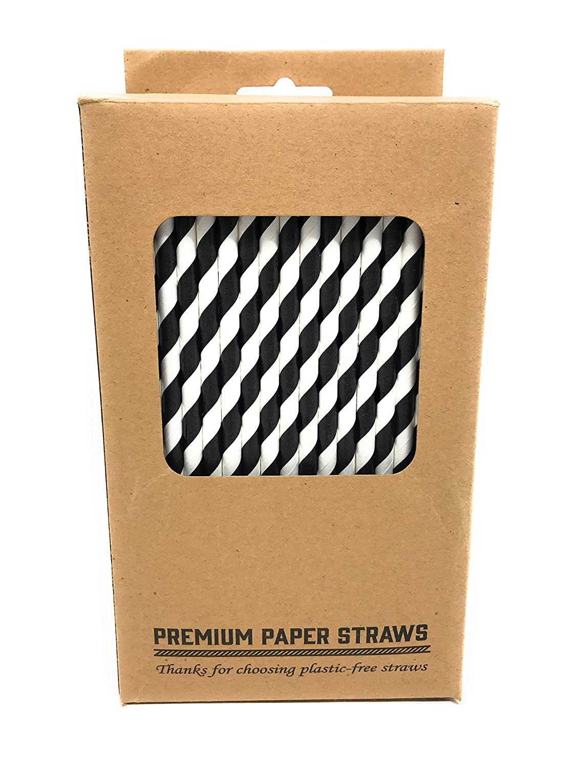 Cannucce di carta premium 200 Black and White Striped Incensu