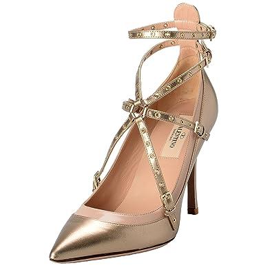 73f2c839f64 Valentino Garavani Women s Leather Golden Ankle Strap High Heels Shoes US 6  IT ...