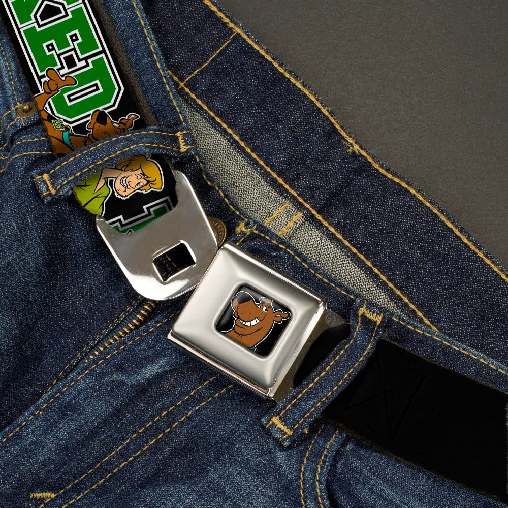 Buckle-Down Seatbelt Belt Scooby Doo /& Shaggy Pose//BAKED Black//Green 24-38 Inches in Length 1.5 Wide