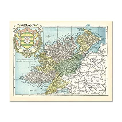 Donegal On Map Of Ireland.Historic Families Donegal County Map Of Ireland Antique Reproduction Print