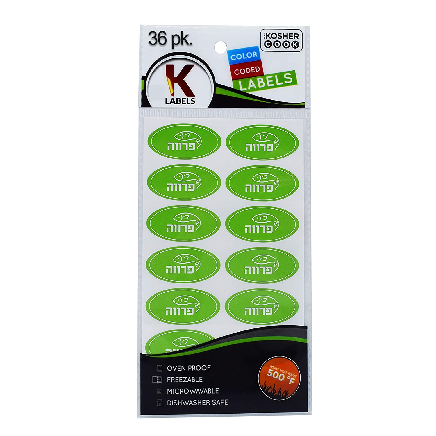 36 Parve Green Kosher Labels – Oven Proof up to 500°, Freezable, Microwavable, Dishwasher Safe, Hebrew - Color Coded Kitchen Stickers by The Kosher Cook
