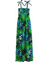 Robert J. Clancey Women's Flower Poetry Spaghetti Strap Hawaiian Long Tube Dress