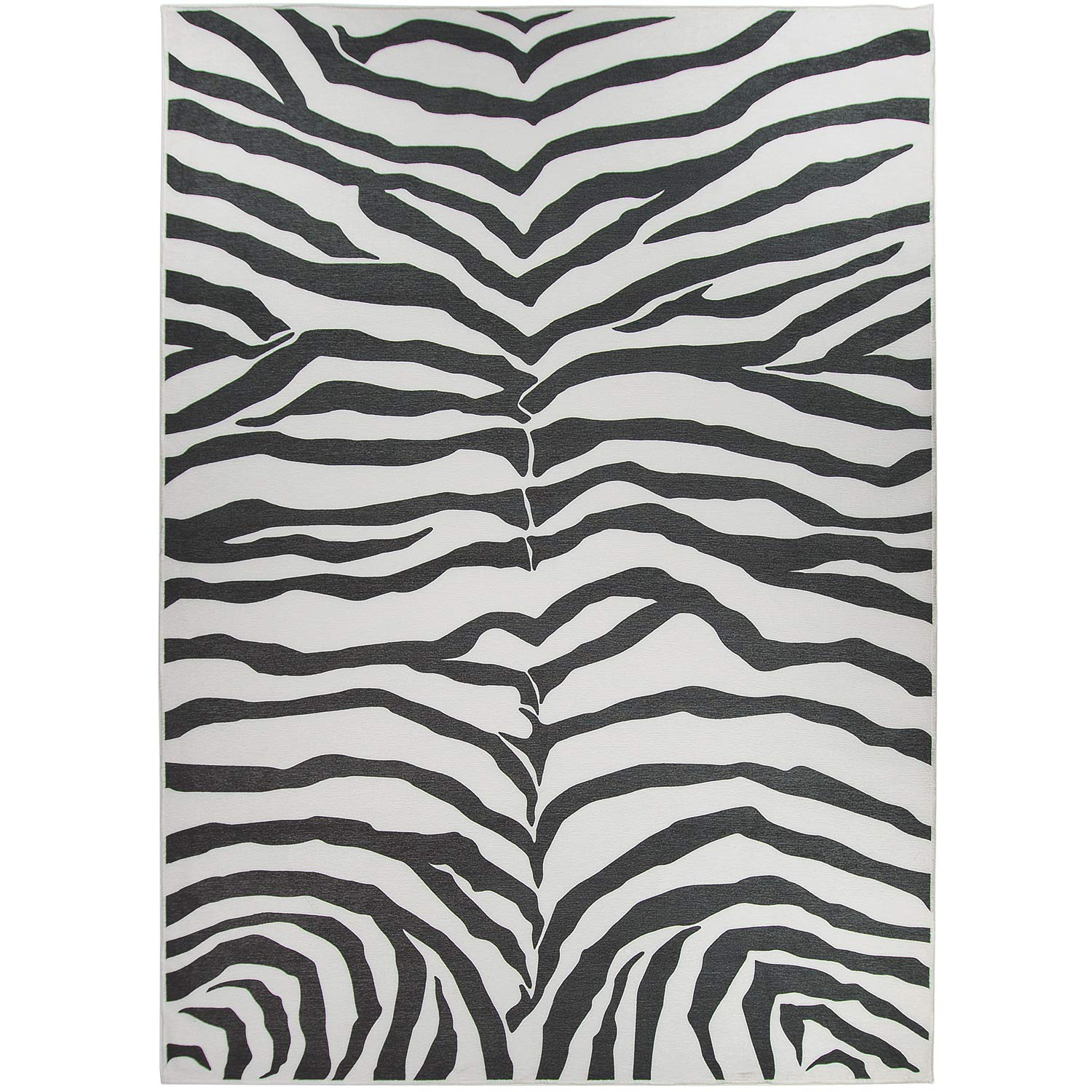 RUGGABLE Washable Stain Resistant Indoor/Outdoor, Kids, Pets, and Dog Friendly Area Rug 5'x7' Zebra Safari Black