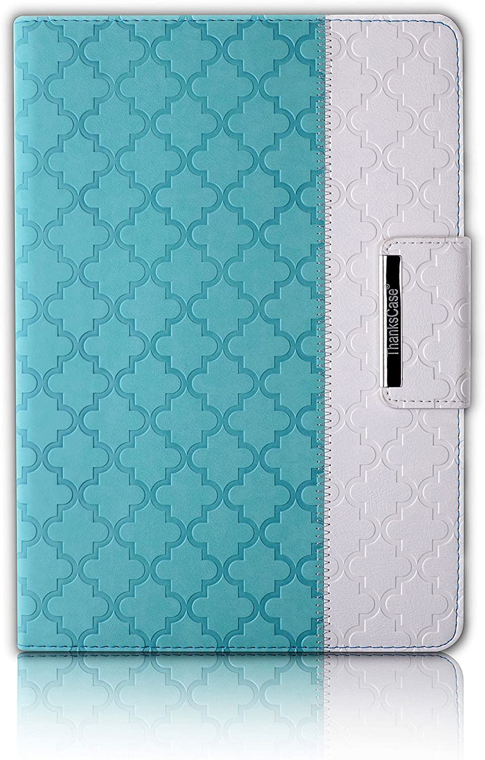 Thankscase Case for iPad Air 2, Rotating Leather Case Smart Cover with Beautiful Quatrefoil Lattice Embossed Pattern,Swivel Case Bulid-in Wallet Pocket and Hand Strap for iPad Air 2.(Mint Quatrefoil)