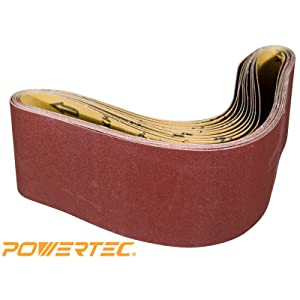 POWERTEC 110210 6 x 48-Inch Sanding Belts | 120 Grit Aluminum Oxide Sanding Belt | Premium Sandpaper For Portable Belt Sander – 10 Pack