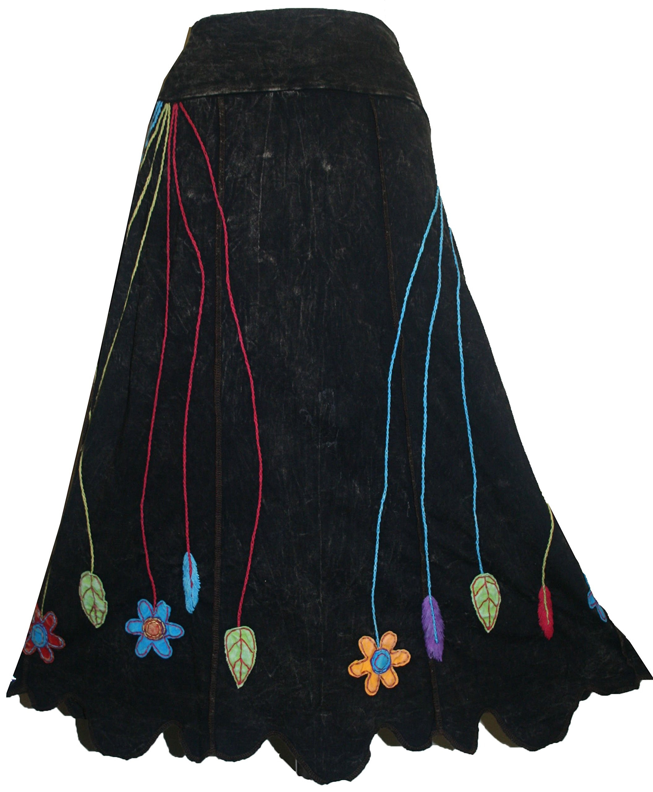 402 RS Agan Traders Rib Flower Embroidery Skirt [Black; XXL]