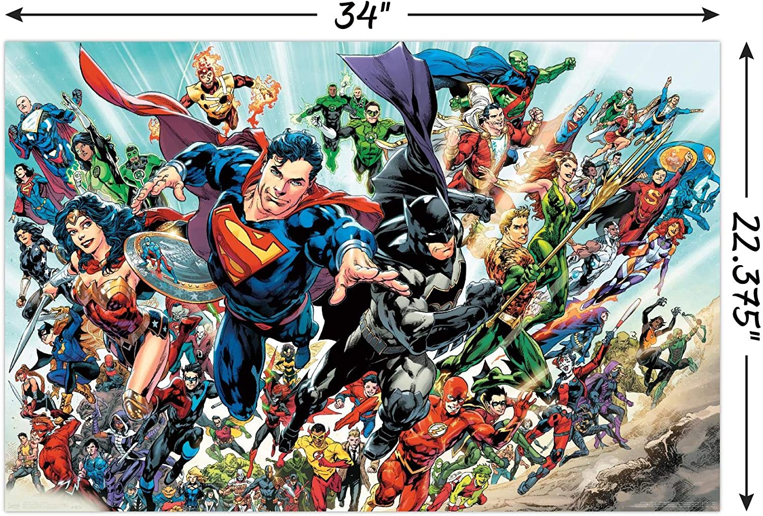 Trends International Dc Comics Justice League Rebirth Group Wall Poster 22 375 X 34 Unframed Version Home Kitchen