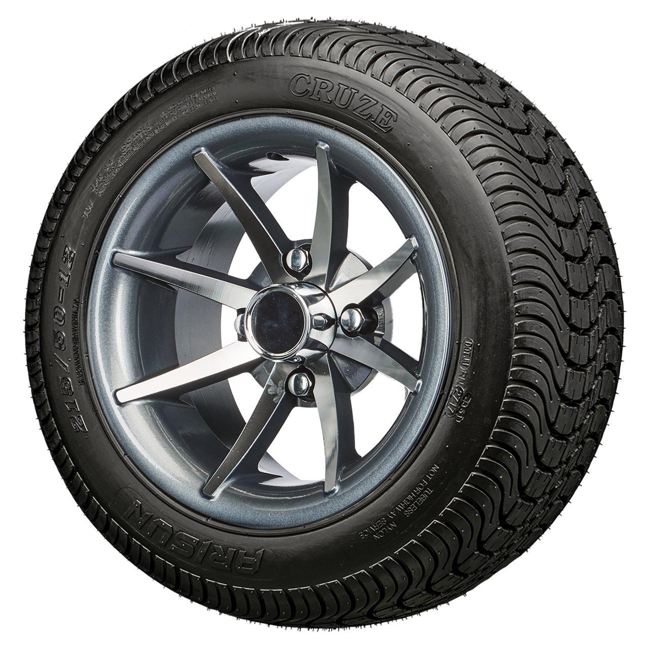 12'' Classic Gun Metal - Golf Cart LowPro Street Tire and Wheels Combo