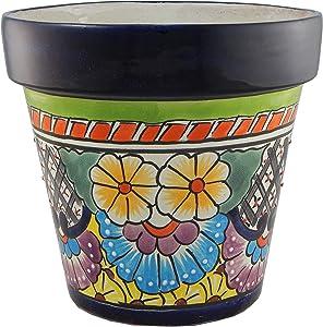 Mexican Talavera Planter Ceramic Flower Pot Folk Art Pottery Garden Handmade # 05