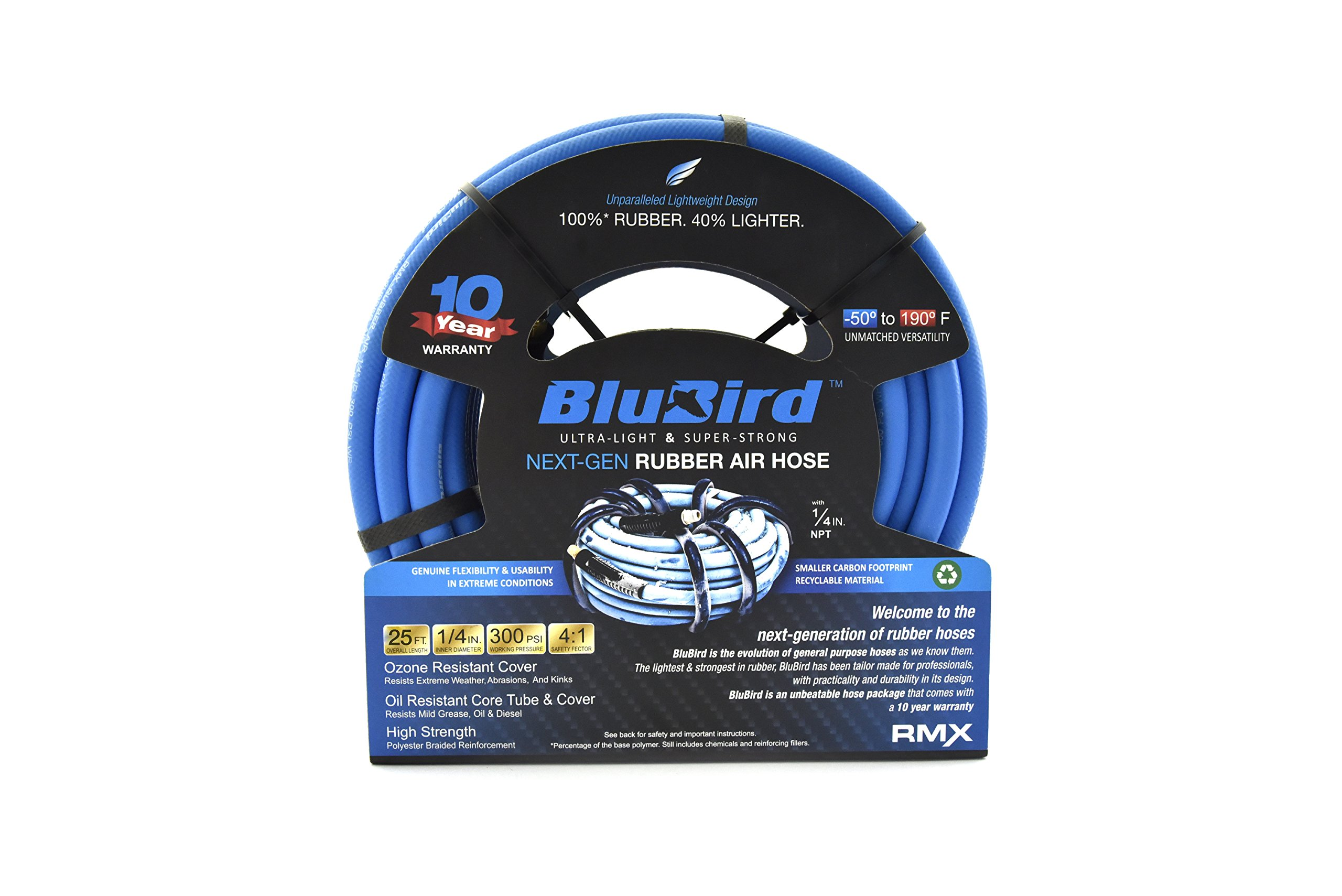 BLUBIRD: The Lightest and Strongest Rubber Air Hose 1/4'' x 25' 300PSI w/ 10 Year Warranty