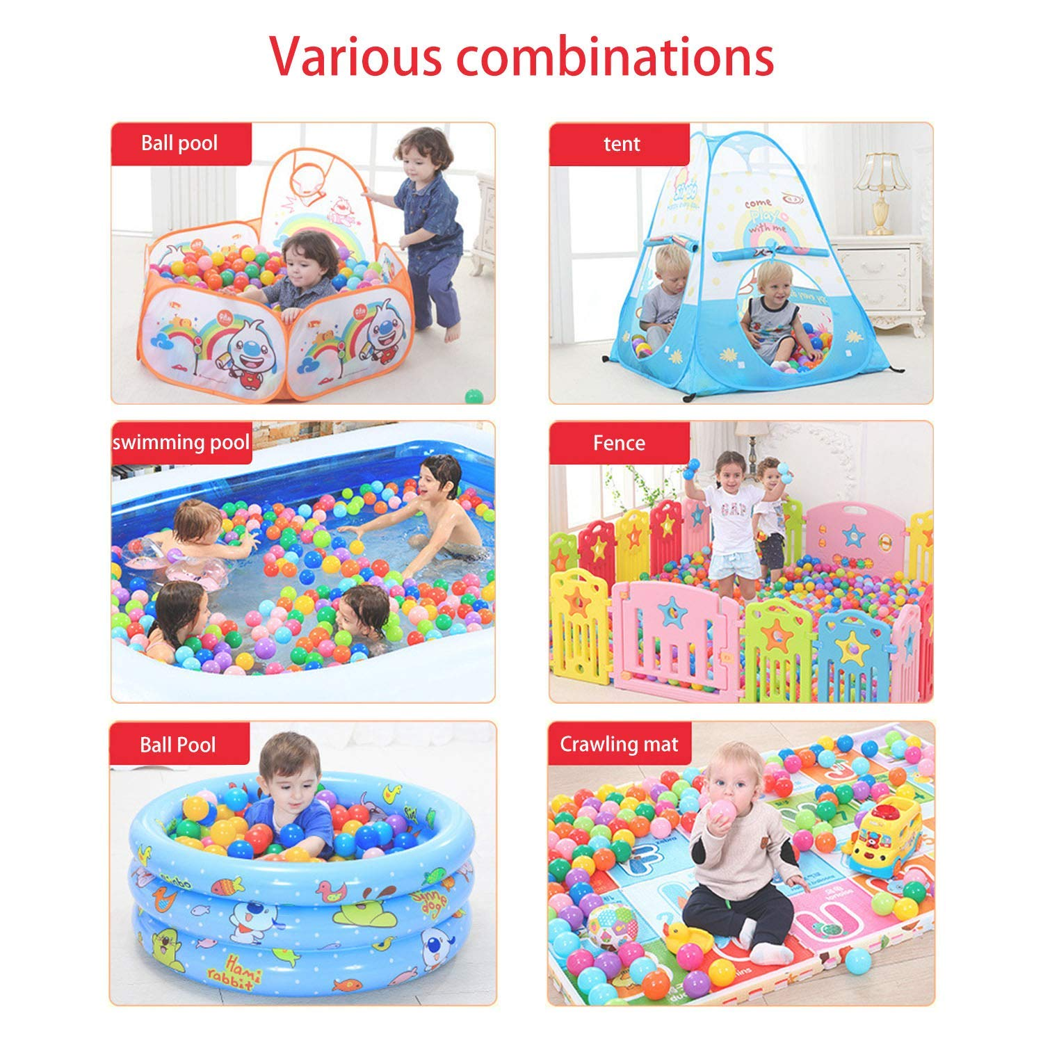 Binwwede Kids Ocean Ball 5 Colors Toddler Baby Ball Pit Pack of 100 Plastic Play Balls (20pcs) by Binwwede (Image #5)