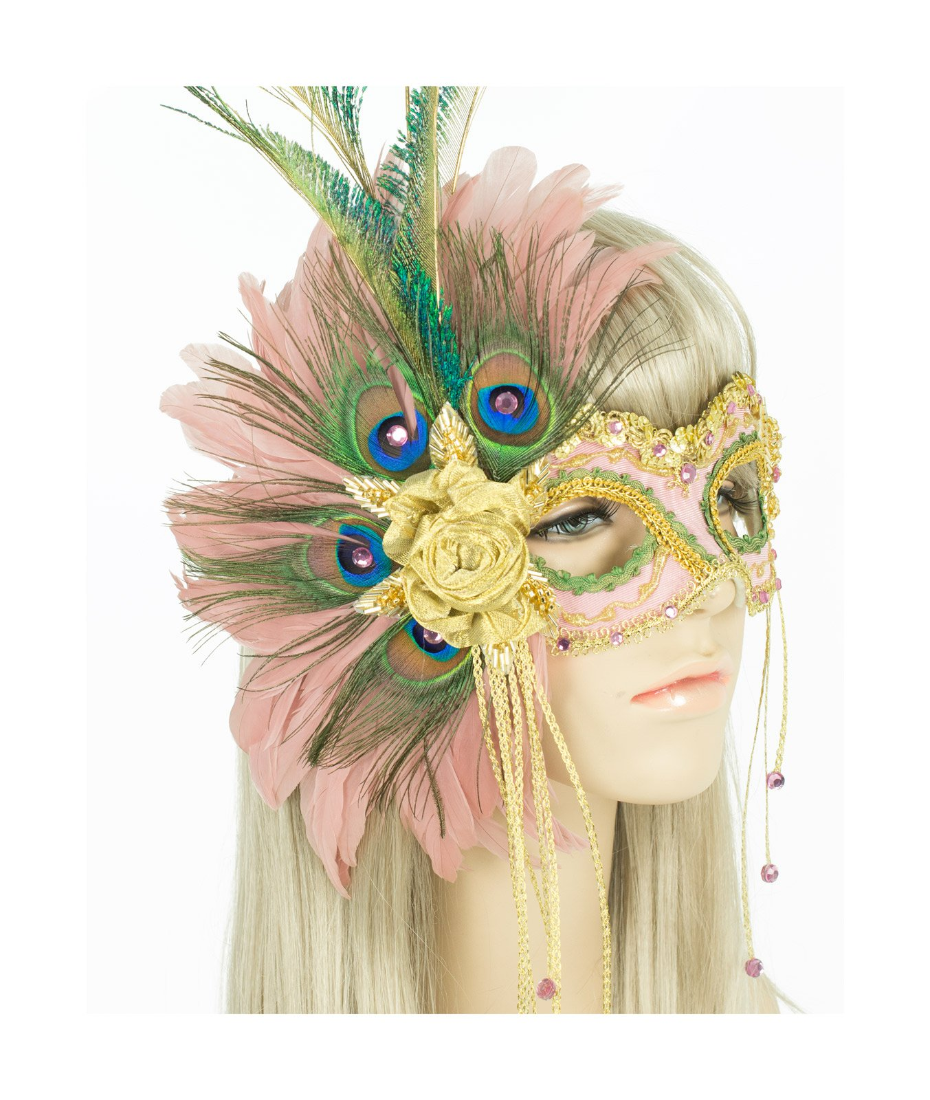 Handmade in USA Masquerade Mask with Peacock Feathers and Crystals (Pink)
