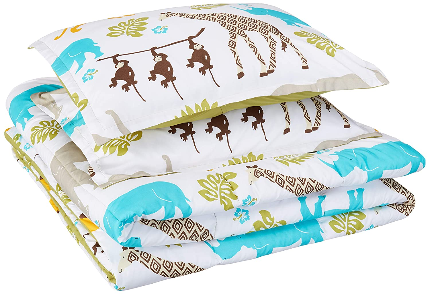 AmazonBasics Easy-Wash Microfiber Kid's Comforter and Pillow Sham Set - Full or Queen, Multi-Color Zoo Animals