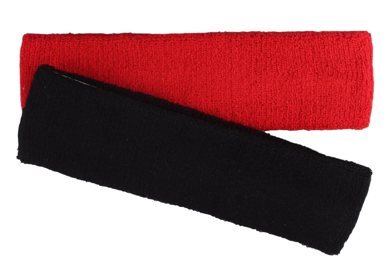 Fascia sportiva per capelli in 5colori 2er Pack schwarz/rot unica stb-2012