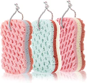 Chinco 3 Pieces Bath Sponge Shower Sponge Soothing Body Sponge for Cleaning Exfoliating